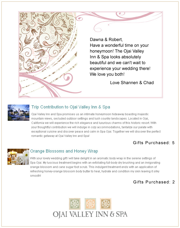 Wedding Gift Message For Honeymoon : Ojai Valley Inn & Spa Honeymoon Registry